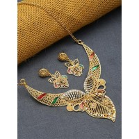 Golden Leaf Necklace Set with Red and Green Stones