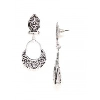 Oxidized Silver Earrings with Floral Motifs