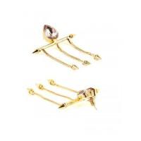 Vintage Ville Baroque Designer Light Amethyst Brass Party Wear Earrings