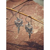 Oxidized Silver Bird Earrings