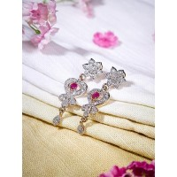American Diamond Spade Earrings with Red Stone
