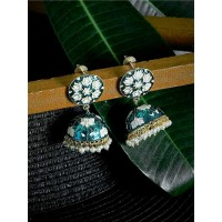 Turquoise and White Lotus Meenakari Jhumki Earrings
