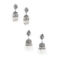 Peacock and Floral Oxidized Jhumkas Combo
