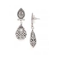 Oxidized Silver Tear-drop Dangler Earrings