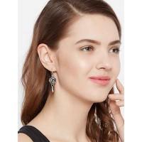 Oxidized Silver Flower Earrings