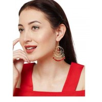 Mellow Red Alloy Metal Handmade Western Earrings