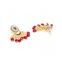 Maroon Gold-Plated Kundan Studded Jadau Jewellery Set