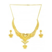 Golden Peacock Necklace Set For Women