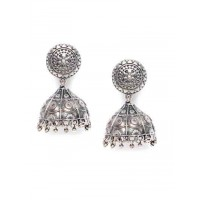 Antique Delicately Handcrafted Tribal Jewellery Silver Plated Jhumkis