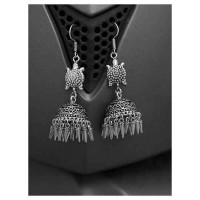 Tortoise Tribal Jewellery Long Jhumkis With Pretty Hangings