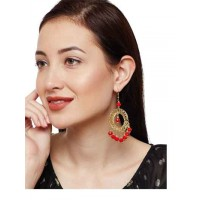 Iktara Red and Dull Gold Hoops Western Earrings