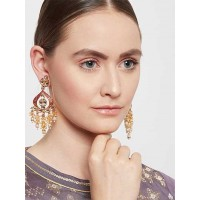 Golden and Maroon Gold-Plated Kundan Earrings
