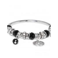 Black and Silver Tree Charm Bracelet