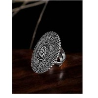 Adjustable Oxidized Silver Patterned Motifs Ring