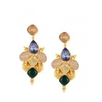 Coco Fancy Brass Rose Water Opal, Topaz and Emerald Opal Party Wear Earrings
