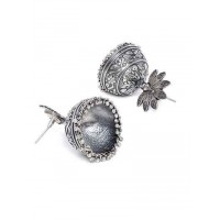Mor Embellished Antique Tribal Jewellery Silver Plated Jhumkis