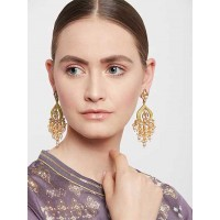 Golden and Green Gold-Plated Kundan Earrings