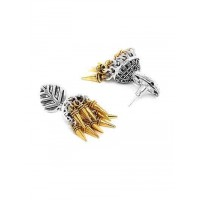 Leafy Tribal Jewellery Short Earrings With Golden Hangings