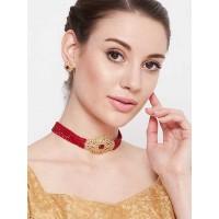 Gold-Plated & Maroon Stone-Studded Beaded Jewellery Set
