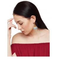 Golden Brass Contemporary Earrings For Women