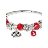 Red and Silver Flower Charm Bracelet
