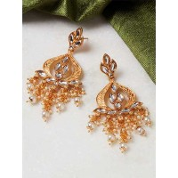 Golden and Peach Gold-Plated Kundan Earrings