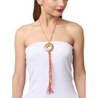 Saffron Threadwork Copper Pendant Statement Necklace