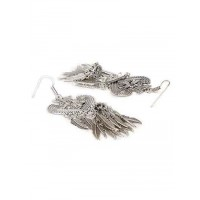 Mor Embellished Spade Design Oxidized Long Silver Earrings With Hanging Leaves