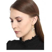 Hanging Pearls Brass Party Wear Earrings