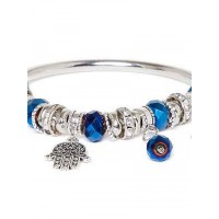Blue and Silver Hands of Allah Charm Bracelet