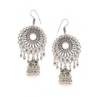 Floral Motifs Circular Design Oxidized Long Jhumki Earrings With Hangings Bells