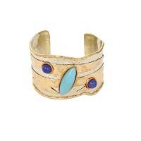 Chunky Blue Chalcedony Lapiz Lasuli Brass Handmade Jewellery Cuff