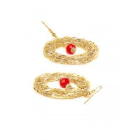 Mesh Gold Party Hoops with Red Beads Handmade Western Earrings