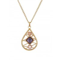 Rose Quartz Pearl And Blue Faceted Square Stone Semi Precious Handmade Jewellery Fashion Necklace
