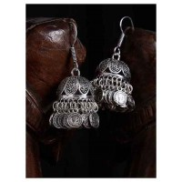 Classic Short Oxidized Silver Jhumki Earrings With Hanging Coins