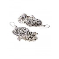 Floral Design Oxidized Silver Long Earrings With Hanging Jhumkis