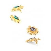 Combo of Two Golden Stud Stone Earrings