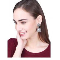 Fiery Fusion Silver Traditional Tribal Jewellery Jhumk Earrings