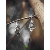 Classic Oxidized Sliver Owl Earrings