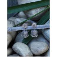 Fiery Fusion Silver Traditional Tribal Jewellery Jhumk Earrings