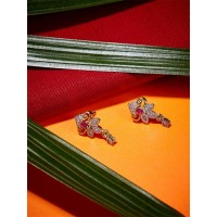 American Diamond Daily wear Stud Earrings with Red Stone