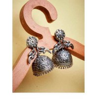 Peacock Rajasthani Tribal Jewellery Silver Plated Jhumkis
