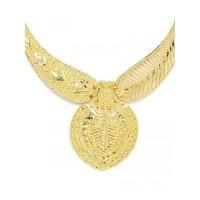 Golden Leaf Necklace Set with Floral Motifs