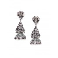 Vintage Styled Tribal Jewellery Silver Plated Jhumkis