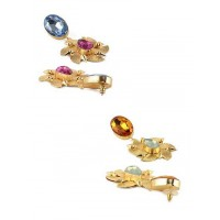 Combo of Two Golden Floral Dangler Earrings