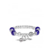 Blue and Silver Butterfly Artificial Charm Bracelet