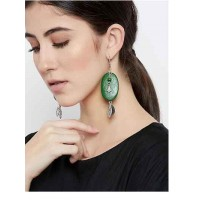 Green Wooden Tribal Jewellery Danglers With Hanging Coins