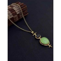 Brass Necklace Studded With Lime & Black Druzy Gemstones