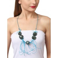 Black Stone with Blue Threadwork Statement Necklace