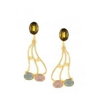 Combo of Two Contemporary Golden Stone Dangler Earrings